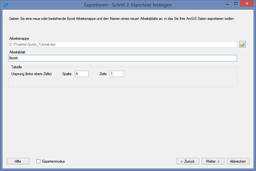 Export von ArcGIS-Attributdaten nach Excel ohne Verbindung