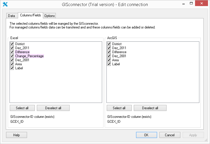 Excel formulas and the GISconnector