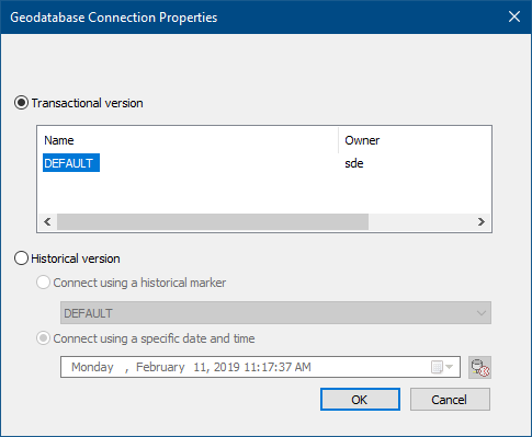 Connections to an Enterprise Geodatabase